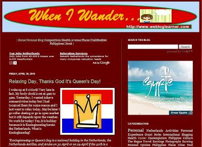 screenshot of when i wander blog at http://www.webloglearner.com