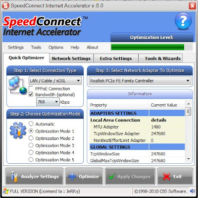 speedconnect 8 menu