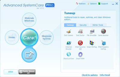 Advanced system care menu 3