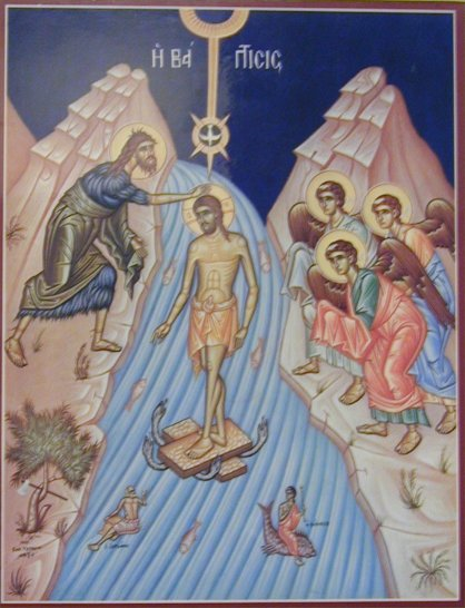 Baptism as type of Christ's descent into hades, under doors watery underworld monster is crushed!
