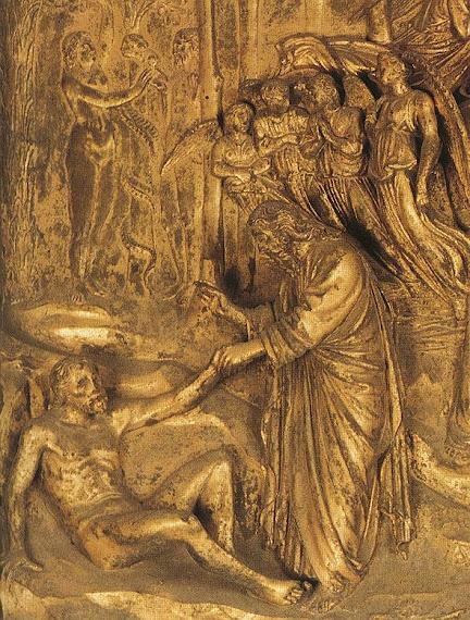 Creation of Adam, God's left hand to Adam's left to clasp hands.