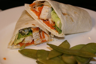 Asian Chicken Wraps with Steamed Snap Peas