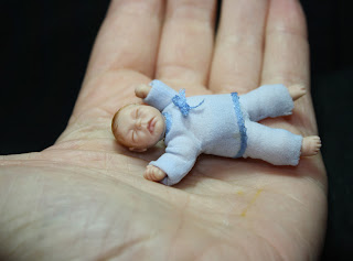 Miniature baby, 1/12 scale, art doll, ooak