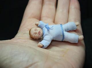 Miniature baby, 1/12 scale, art doll, ooak