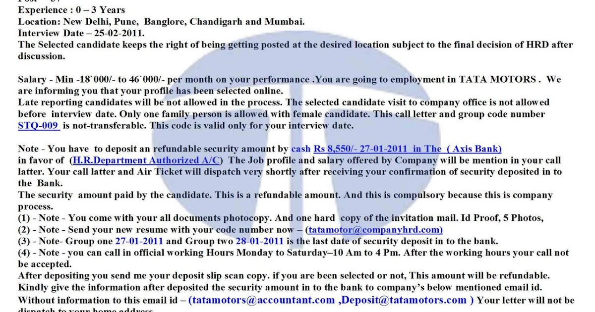 Tata Motor Interview Letter