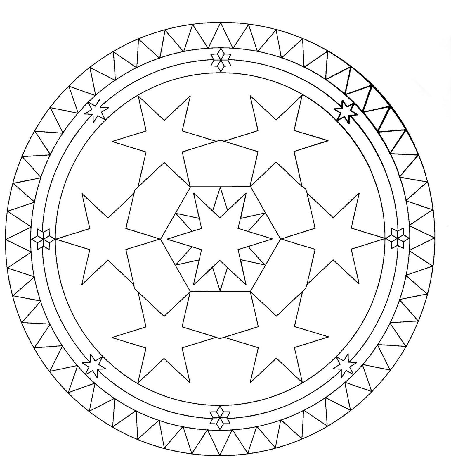 Mandalas Para Pintar: Mandala con círculo de estrellas