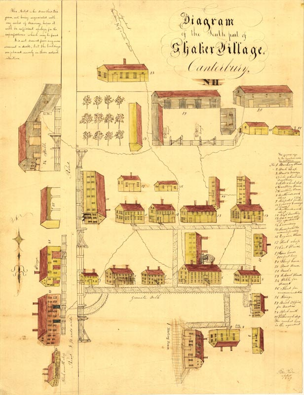 Peter Foster Diagram of the South Part of Shaker Village, Canterbury, NH Manuscript map Ink and watercolor on paper, 1849