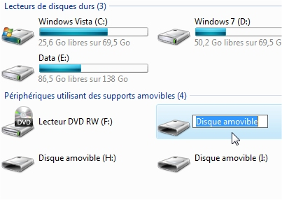 capture d'écran Windows - donner un nom à une clé USB