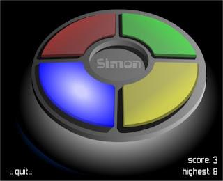 Capture d'écran du jeu Simon