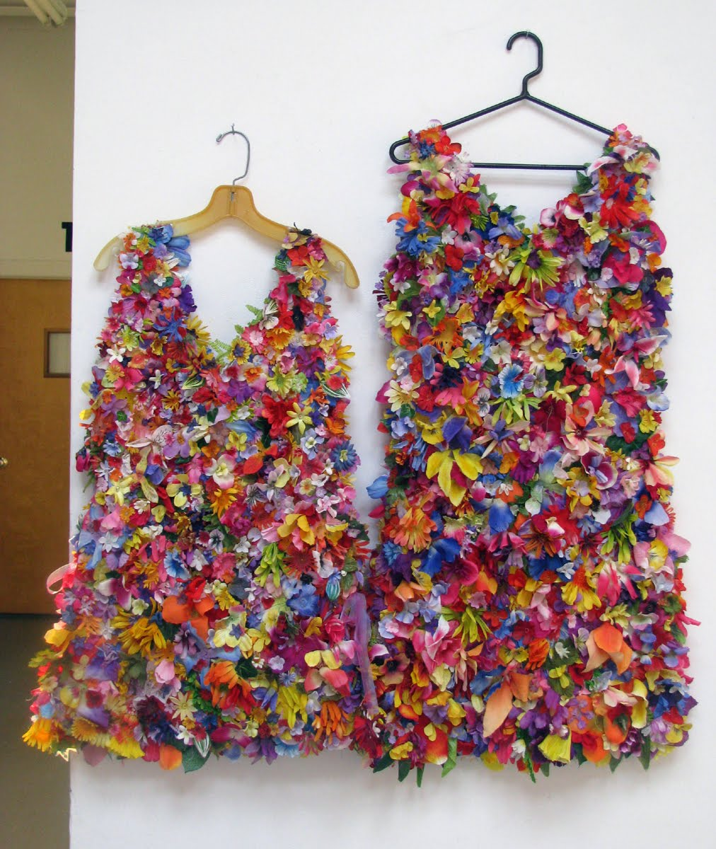 Art in stitches recycled cemetery flower dresses for Waste material items