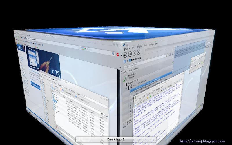 Fedora 13 KDE Desktop 3D effects