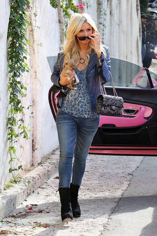 Paris Hilton  Shows us Her Little Puppy amp Pink Car glamour images