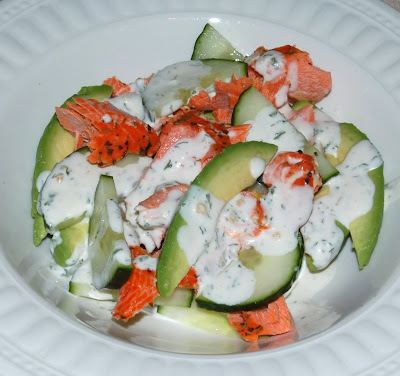 Avocado Cucumber Salad with Baked Salmon