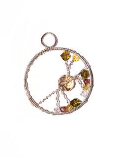 pandantiv handmade din sarma argintata si cristale de sticla