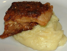 Twice cooked pork belly with garlic mashed potatoes