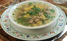 Italian Sausage, corn, hominy, and watercress soup