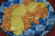"Vidalia Onion and Potato Pakora ""pancakes""  with a ""Khadi"" curry sauce"