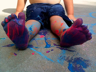 sidewalk paint - messy fun for kids