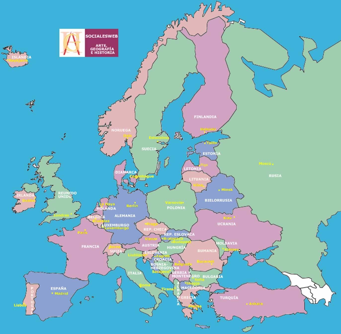 Mapa De Europa Con Sus Capitales