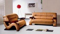 Elegant Caramel Leather Sofa Loveseat Living Room Set Contemporary Furniture