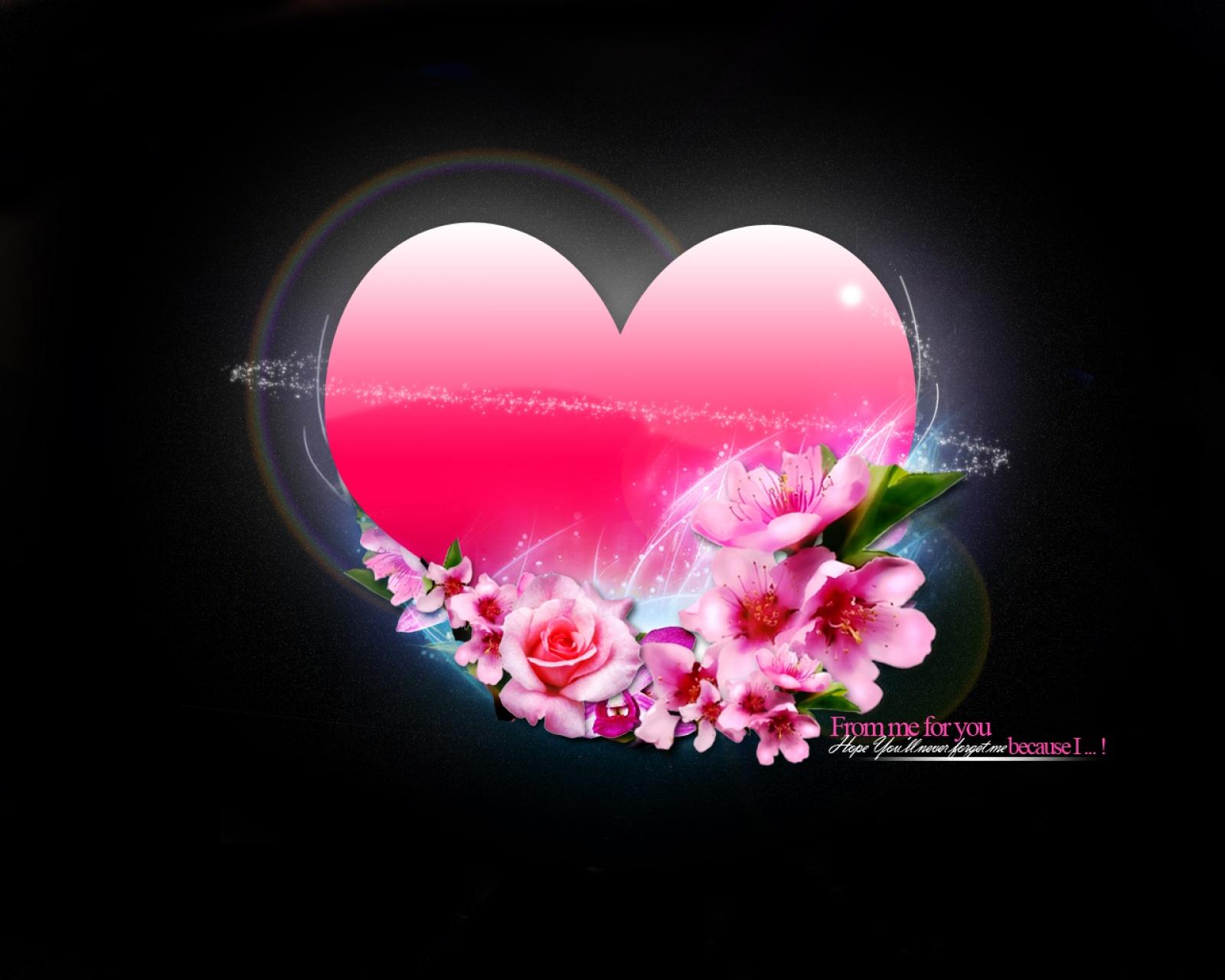 Roze Hart Op Zwarte Achtergrond
