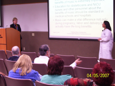 Dr. Cash presenting Grand Rounds on Mozart and Lullabies