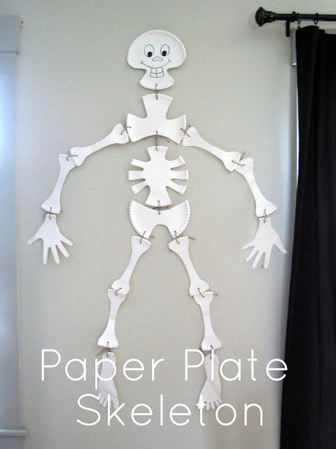halloween crafts: paper plate skeleton tutorial