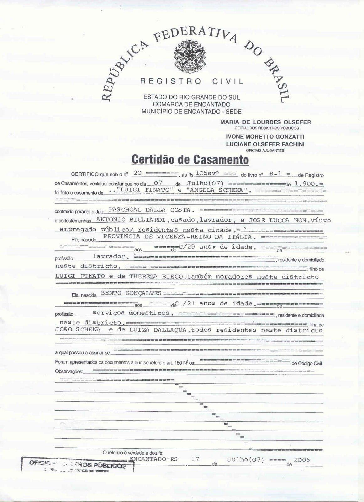 CERTIDÃO DE CASAMENTO DE LUIGI FINATO
