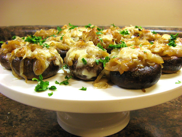 The Well-Fed Newlyweds: French Onion Soup Stuffed Mushrooms