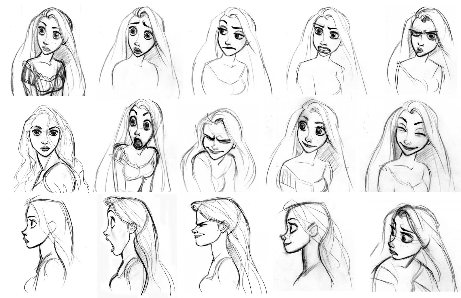 Character Design Animation Tutorial : Rapunzel character designs expression sheets tangled