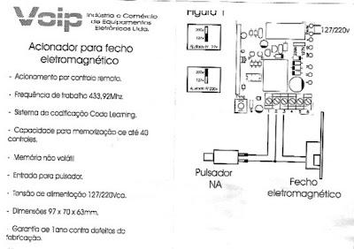 manual acionador fecho eletronico