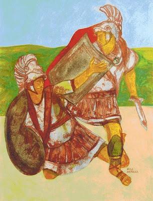 Enea e Turno, 1985, opera di Nicola Andreace (Tecnica mista su tela, cm.60X80)