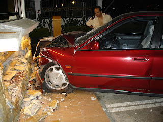 The driver of this car was under the influence of alcohol and drove into a small guard house in Malaysia