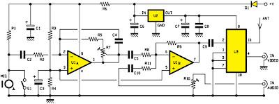 Schéma électrique de l'émetteur de télévision UHF 1 mW