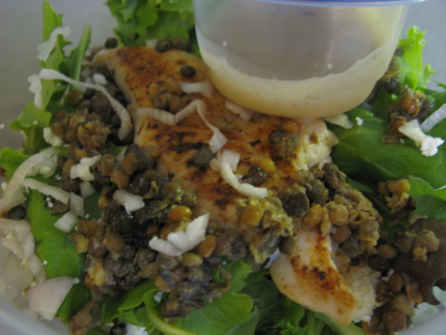 ... Healthie Foodie: Grilled chicken salad with lentils, feta and shallots