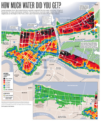 Villanova Law New Orleans Pro Bono Trip: Map of Katrina Flood