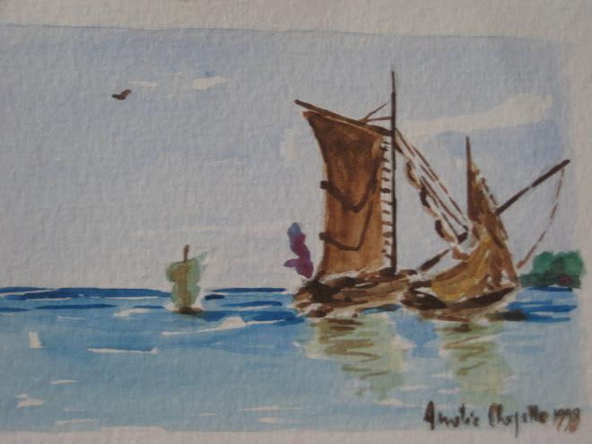 mer d huile et bateau à l arret