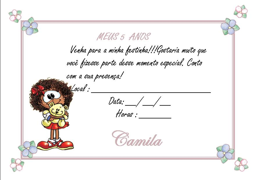 Modelo De Convite De Anivers  Rio Infantil Para Imprimir