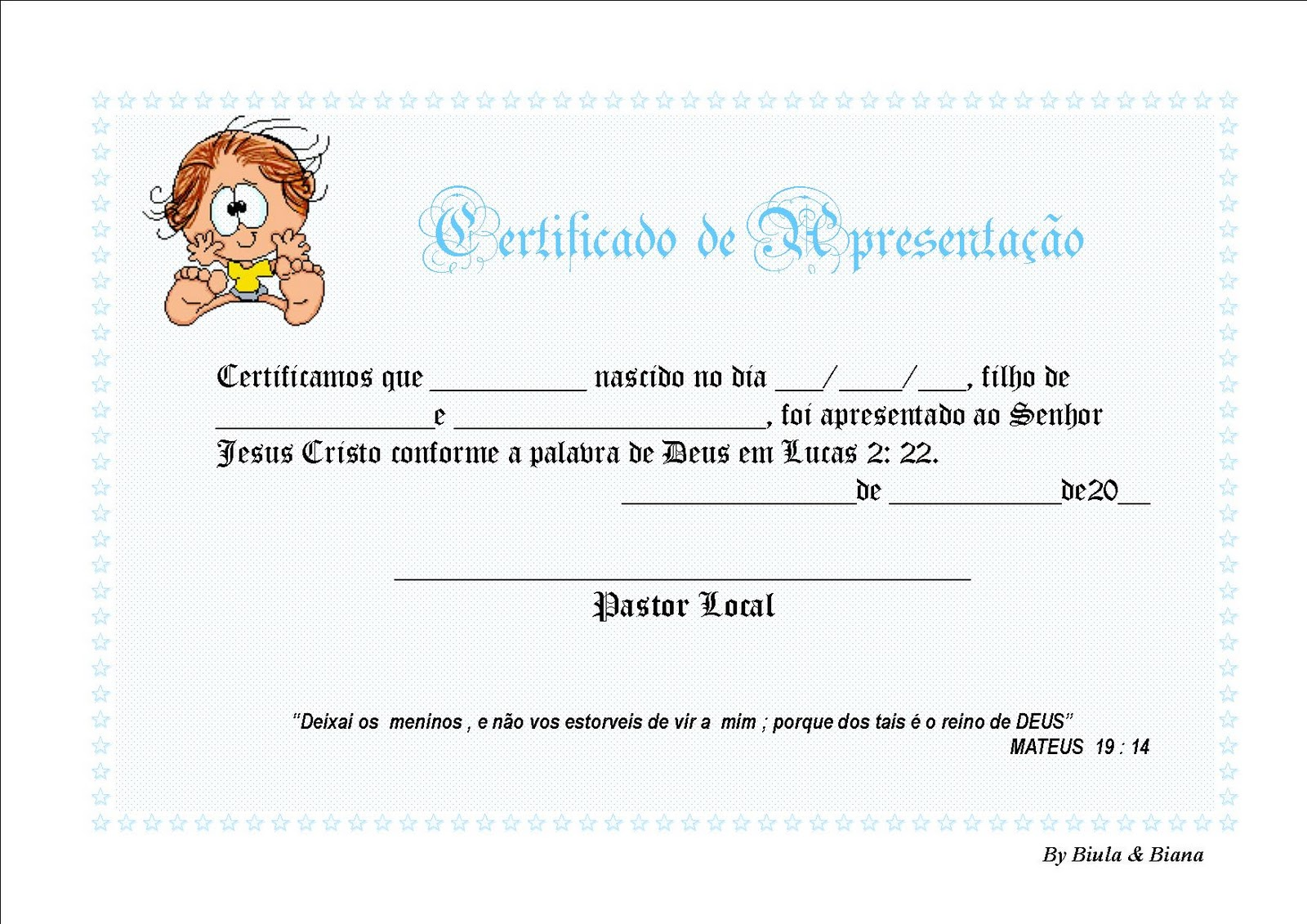 Marcadores  Certificado De Apresenta    O De Beb