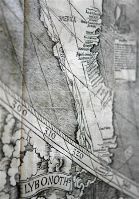 Waldseemüller Map with the name America written on an accurate depiction of S. America
