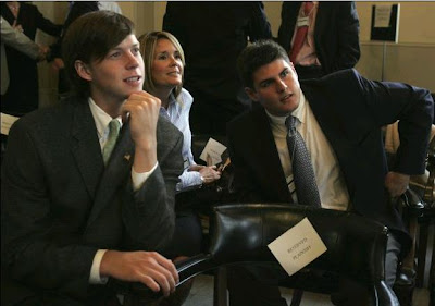 Collin Finnerty & Reade Seligman during break at Nifong hearing