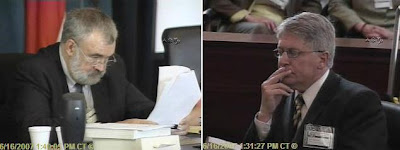 F. Lane Williamson, Disciplinary Hearing Committee chairman reads verdict as Nifong listens