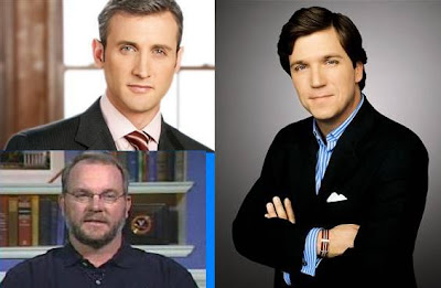 Dan Abrams (top left), Tucker Carlson (right) & Mike Pressler (lower left)