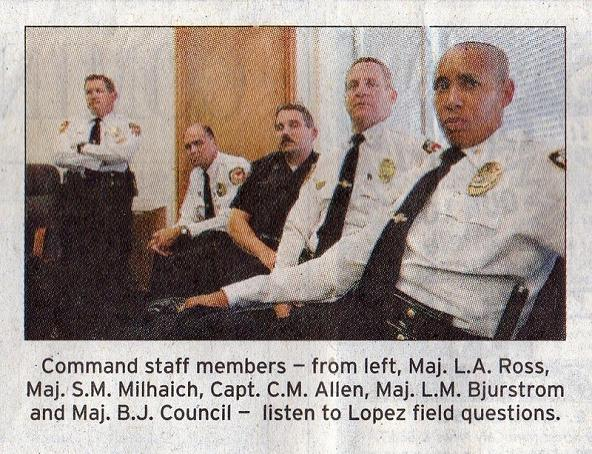 From left: Maj, L.A. Russ, Maj. S.M. Milchaich, Capt. C.M. Allen, Maj L.M. Bjurstrom, and Maj. B.J. Council (summer 2007)