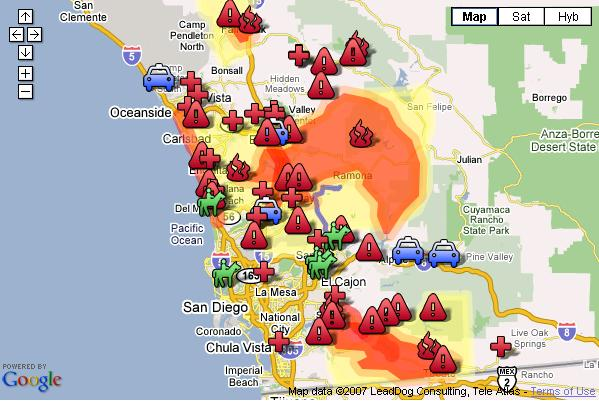 Google Map of Southern Californina fires on Oct 23, 2007