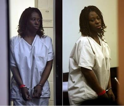 Crystal Gail Mangum wearing handcuffs