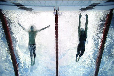 photo finish: Michael Phelps, on left; Milorad Cavic on right