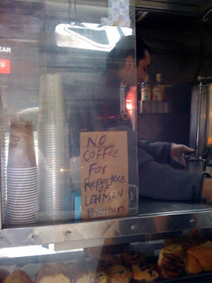 Photo taken at coffee shop outside Lehman headquarters this morning