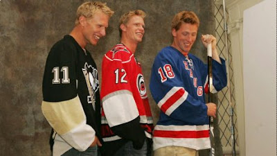The Staal Brothers: Jordan Staal of the Pittsburgh Penguins, Eric Staal of the Carolina Hurricanes and Marc Staal of the New York Rangers