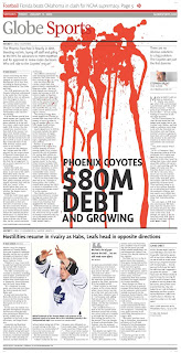 Globe and Mail: Phoenix Coyotes going bankrupt in the desert